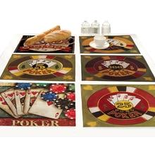 Cotton-linen Cartoon Retro Poker Beer 3d Printing Bar Table Mats Pad Drink Coasters Set Design Kitchen Decoration Accessories