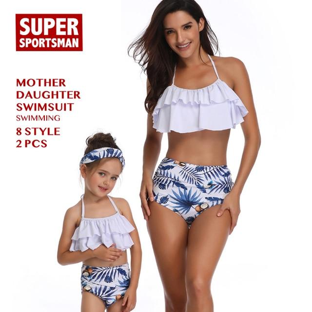 62400ab30943e Women Sexy Bikinis Baby Girls Floral Family Swimsuit Kids Swimwear Mother  Daughter Beach Biquini Children Bathing Swimming Suits