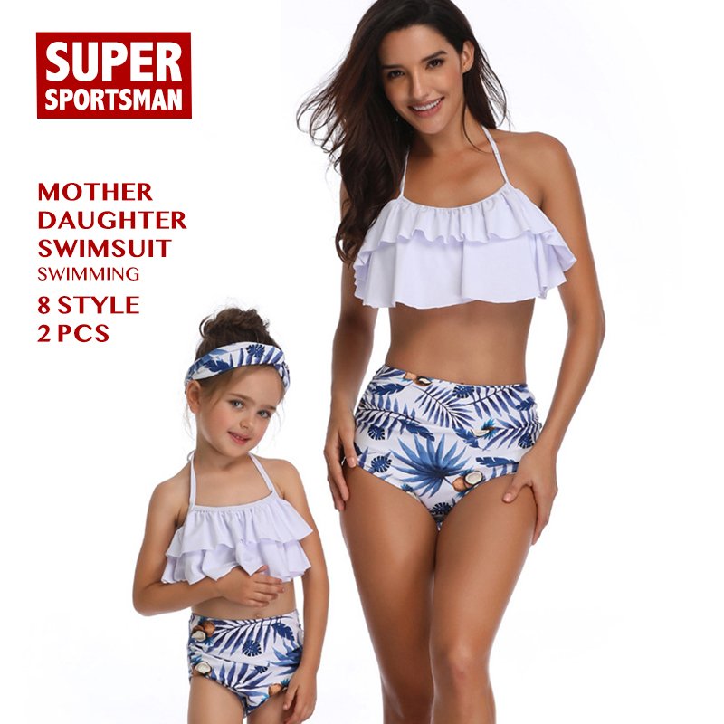 635b3456bd72f Women Sexy Bikinis Baby Girls Floral Family Swimsuit Kids Swimwear Mother  Daughter Beach Biquini Children Bathing Swimming Suits