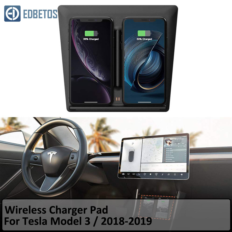 Tesla Model 3 Center Console Wireless Charger Pad with Dual USB Ports Dual Phones Charging for