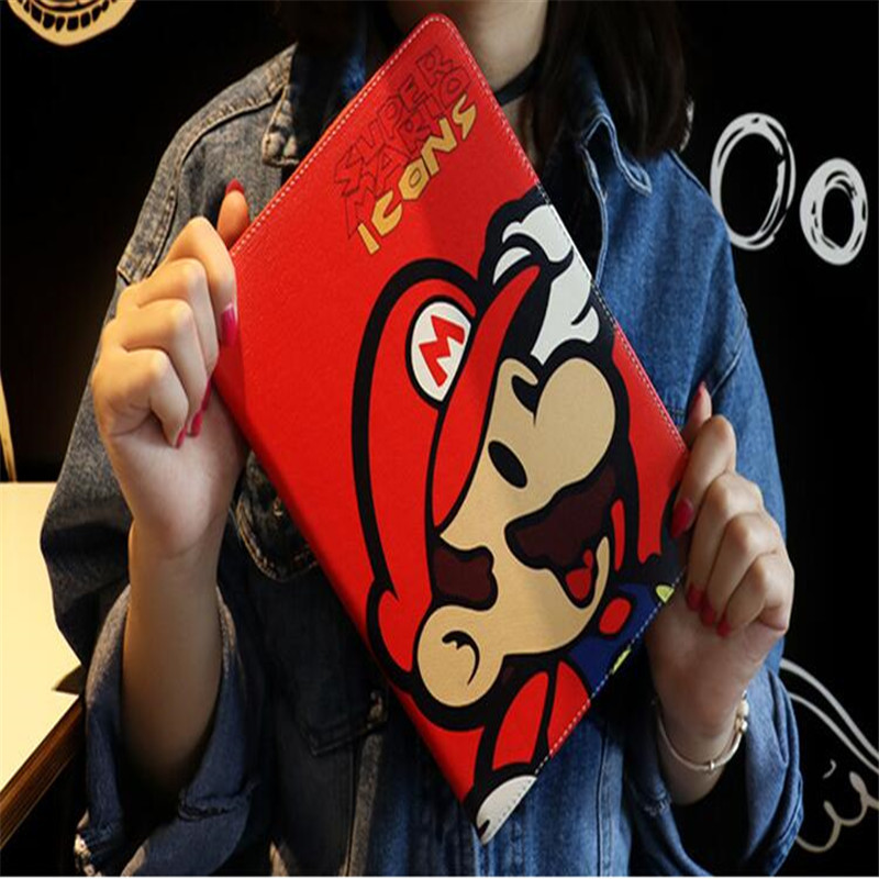 Cute Character Spongebob Garfield Mario Leather Case For Ipad Mini 4 TPU Back Tablet Case Brand Quality With Package