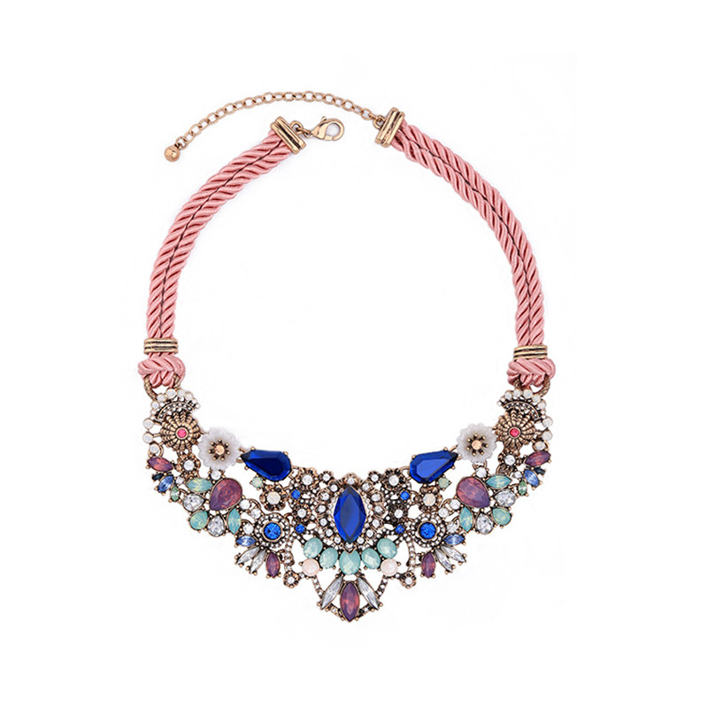 New fashion women necklace top designed sweater necklace with muticolor semi-precious crystal accessories shinning for lady