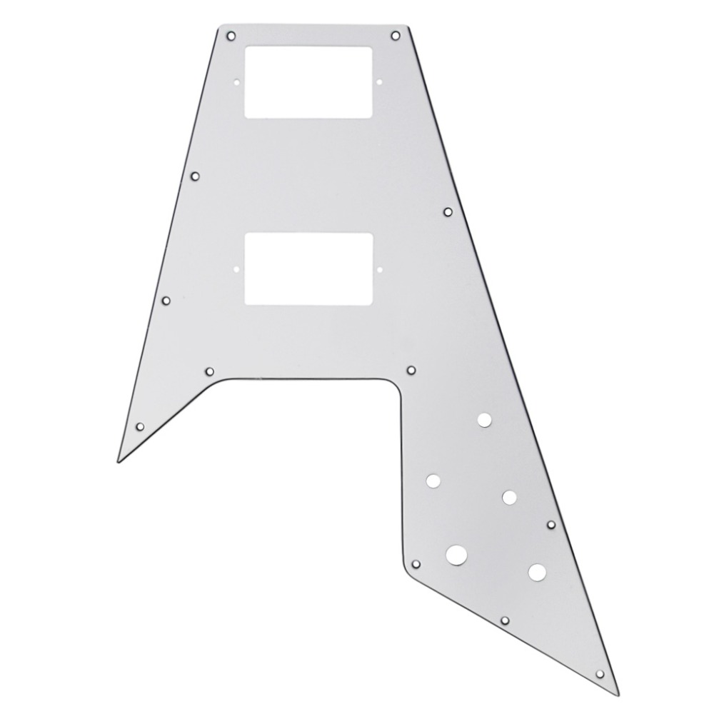 NEW Fly Flying V Electric Guitar Pickguard Scratch Plate White 3Ply For Guitar Parts Accessories