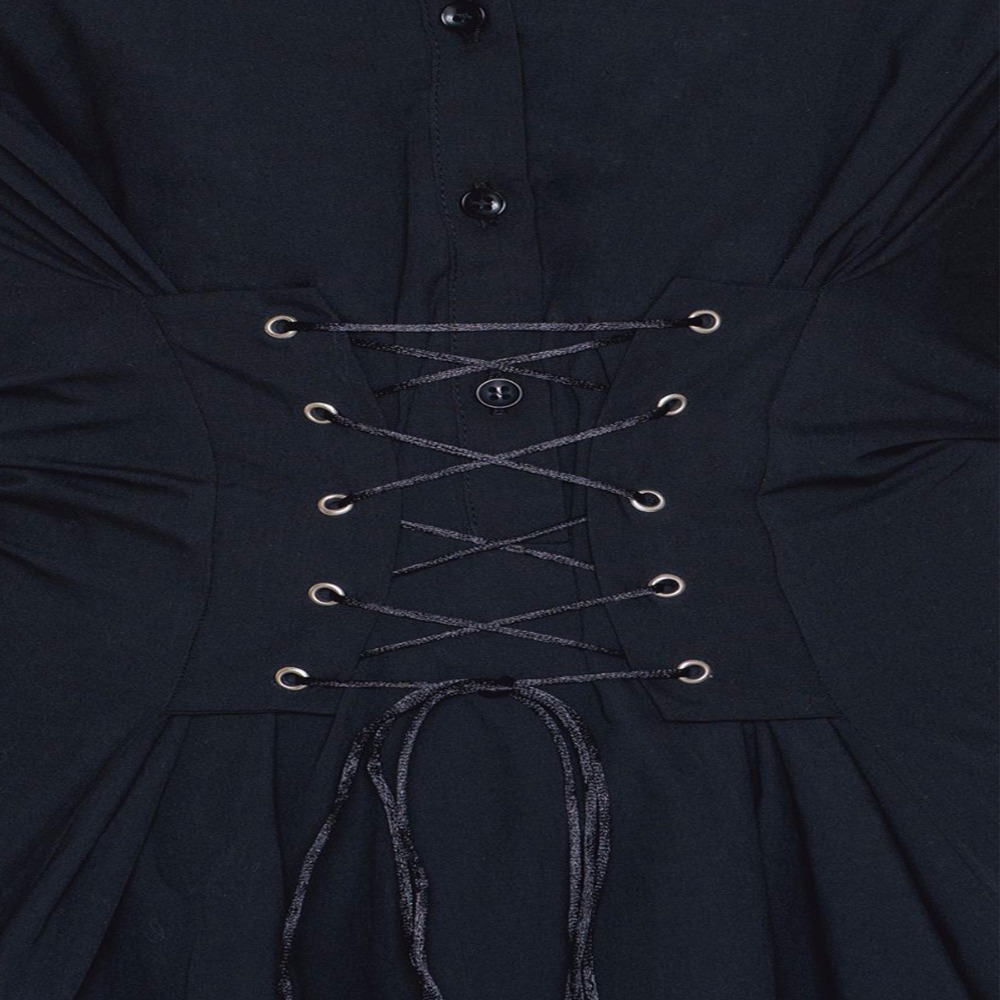 954127821 Black long sleeve lapel collar lace up waist button down shirt dresses for women  ladies vintage oversized mini OL work dresses-in Dresses from Women's ...