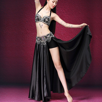 Newly Women Bra with Skirt Dancing Suit Faux Diamonds Decor Clothing Set for Belly Dance DO99