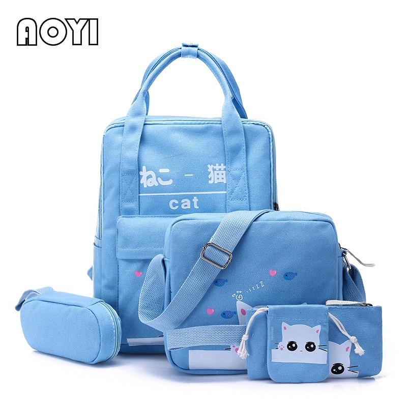 AOYI 5Pcs Set Women Backpack Girls Canvas Backpack Rucksack for Teenager School Mochila Lovely Animal Cat Print Travel Bag New цены онлайн