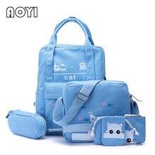 AOYI 5Pcs Set Women Backpack Girls Canvas Backpack Rucksack for Teenager School Mochila Lovely Animal Cat Print Travel Bag New