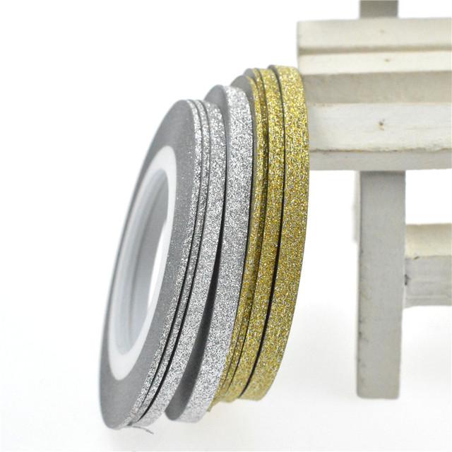1Rolls Nail Art Glitter Gold Silver Stripping Tape Line Strips Decor Tools 1mm2mm3mm Nail Sticker DIY Beauty Accessories BENC275