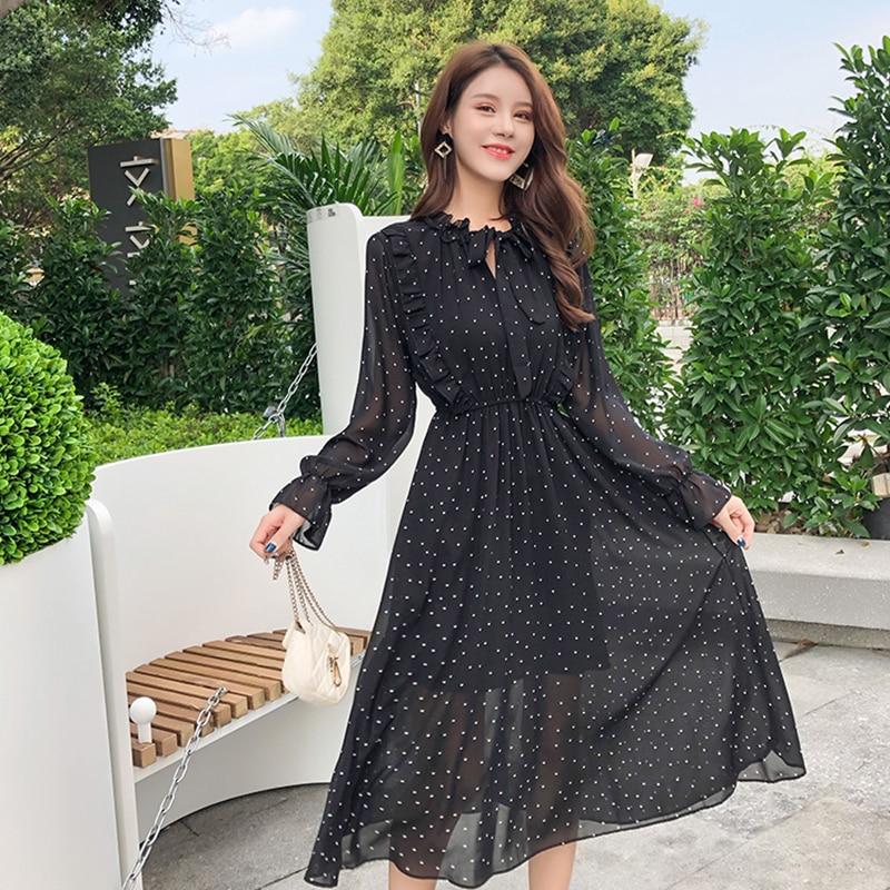 4b93d90cb59ba4f Летнее женское шифоновое платье черное винтажное платье миди в горошек с  длинными рукавами 2019 богемное повседневное свободное Клубное веч.