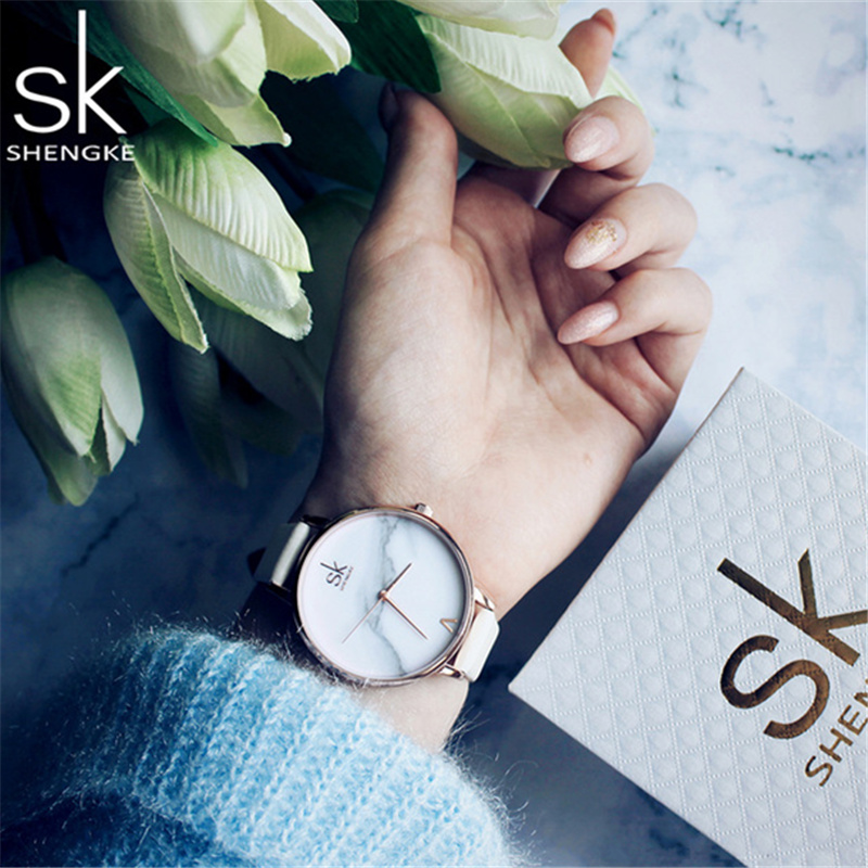 2018 New Top Brand SK Fashion Ladies Watches Leather Famale Quartz Watch Women Casual Dress Wristwatch Reloj Mujer Marble Dial