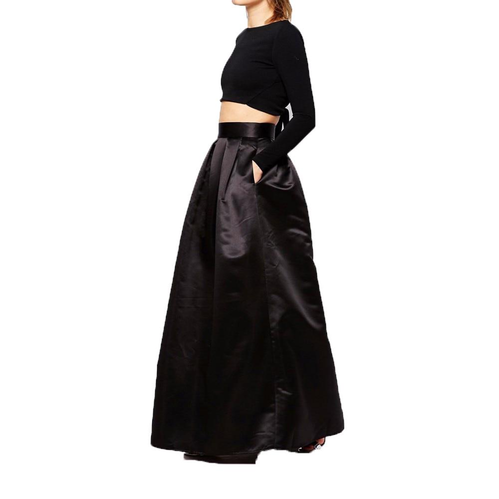 England Style 2017 Custom Made Long Black Skirt With Pockets Rigid Satin Floor  Length Skirt For Women Maxi Skirt Zipper  In Skirts From Womenu0027s Clothing  ...