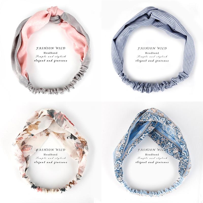 Vintage Mix 34 Colors Turban Elastic Hair Accessories Wrap Plaid Knot Headband Hair band for Women Girls Striped   Headwear   Gift