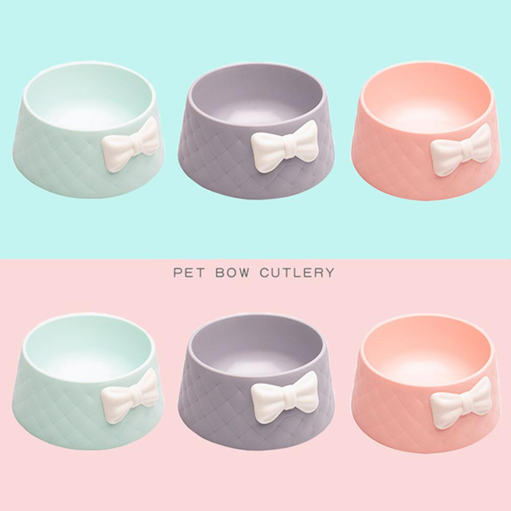Cute Pet Feeders Bowknot Diamond Pattern Leakproof Bowl for Dog Cat Pets Food Bowls Puppy Water Drinking Bowl Feeding Bowls Cats 1