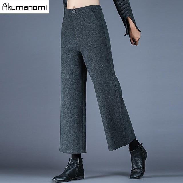9027e535d3 Autumn Winter Wide Leg Ankle-Length Pants Grey Zipper Fly Pocket Trousers  Women Clothes Spring