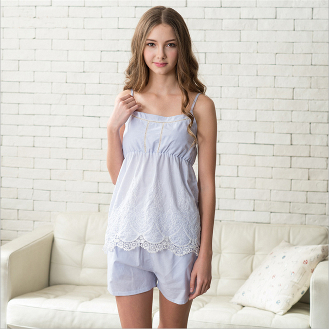 f75765afa5 New Lace embroidery vest Pajamas Shorts suit women Simple fashion style  cotton Material Sling Home clothing