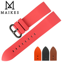 MAIKES New Good Quality Watch Accessories Watchbands 22mm 24mm Fluororubber Watch Bands Rose Red Rubber Sports