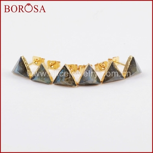 Image 2 - BOROSA 8mm Triangle Gold Color Natural Labradorite Faceted Drusy Stud Earrings, Druzy Stone Studs Earrings for Wholesale G1300