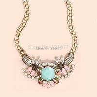Hot Selling Crystal Wedding Gem Glass Stone Necklace Vintage Rhinestone Choker Collar Women Statement Jewelry N0682