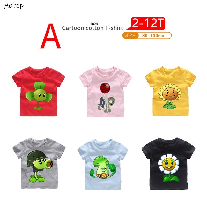 Tops Kids Zombies Vs Cartoon T-Shirt Baby-Girls Children Great Casual Plants 2-12-Years