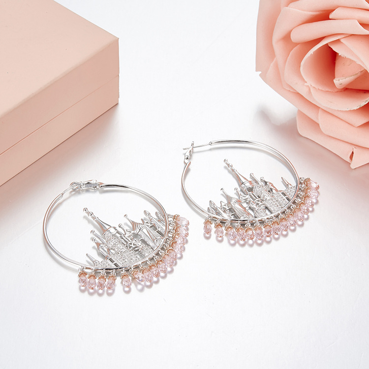 New 925 STERLING SILVER Party jewelry cubic Zirconia tassel big hoop earrings for women