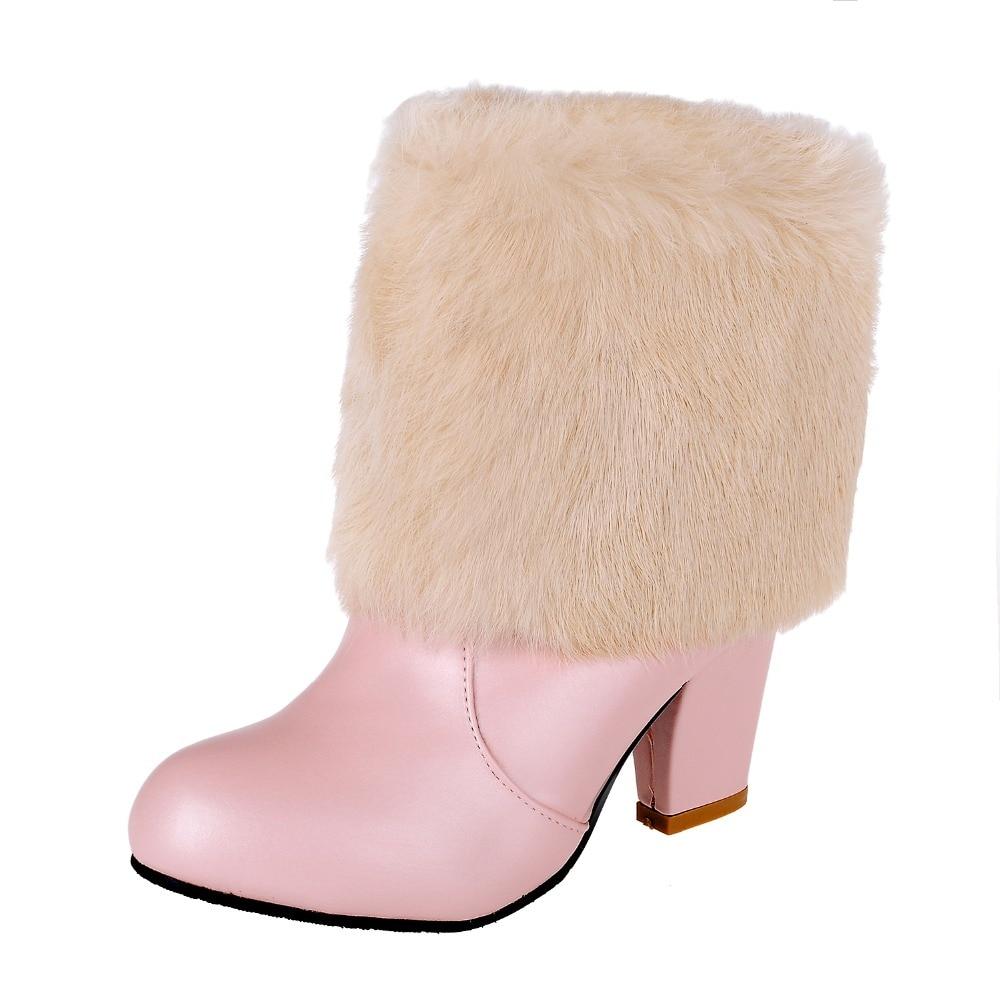 Nero Le Inverno Colore Tacco Scarpe Il Caviglia Donna Della qzwHg