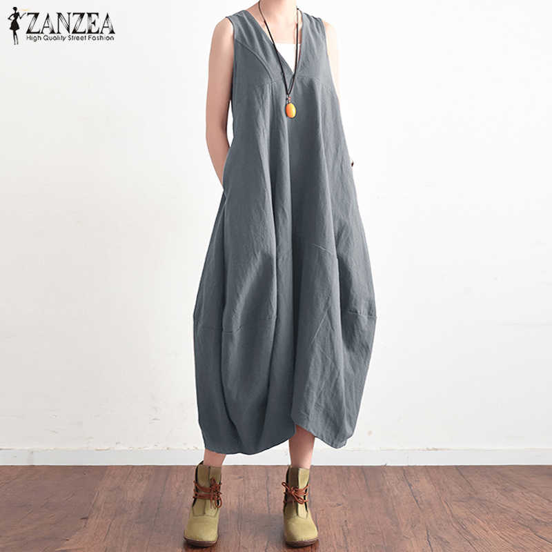 85d650e77220 2018 ZANZEA Summer Elegant Women V Neck Sleeveless Cotton Linen Long Dress  Solid Baggy Casual Lace