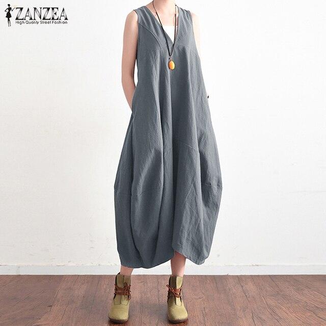 7ccf3796dee 2018 ZANZEA Summer Elegant Women V Neck Sleeveless Cotton Linen Long Dress  Solid Baggy Casual Lace Up Backless Vestido Plus Size