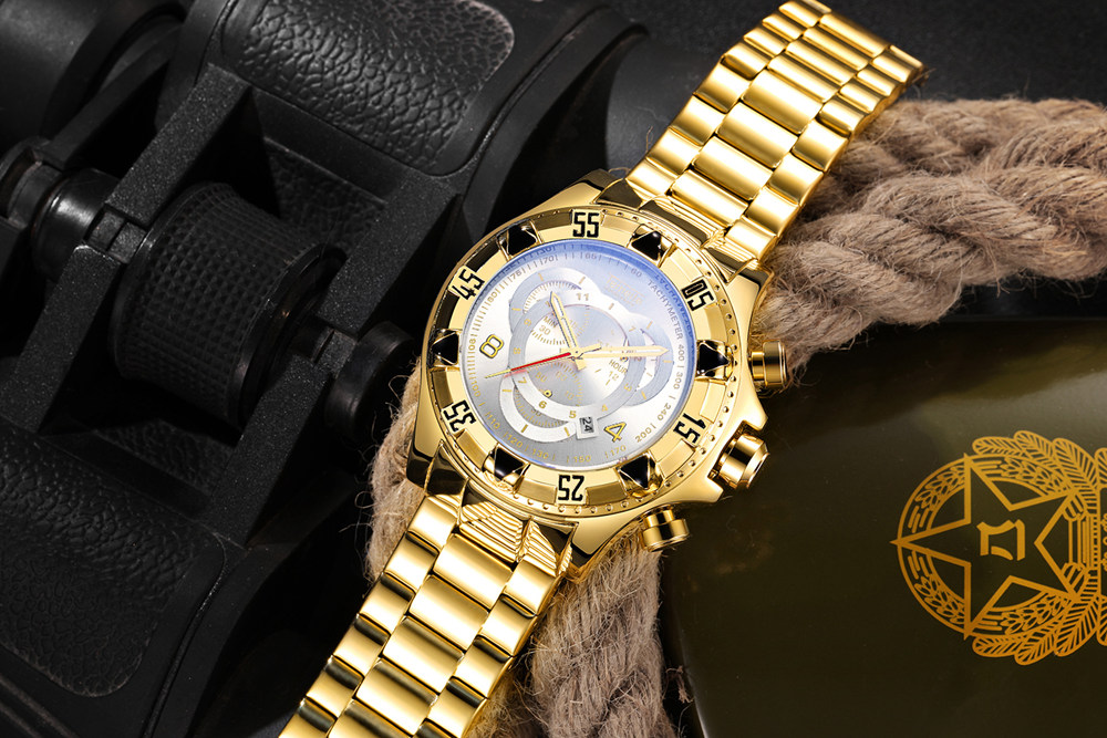 19 Top Brand Luxury Mens Oversize Watch Gold Business Steel Quartz Clock Waterproof Sport Military Chronograph Male Wristwatch 25