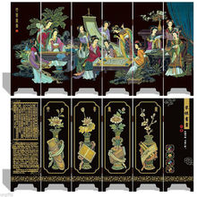 Chinese Boutique collection Lacquer ware painting beauty folding screen- Unique Romance