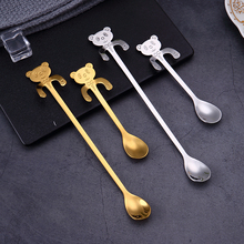 304 Stainless Steel Coffee Spoon Originality Can Hang Cute Little Bear Dessert Ice Cream Long Handle Stirring