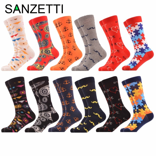 Sanzetti 12 Pairs Lot New Funny Men S Colorful Novelty Combed Cotton Dress Wedding Socks Puzzle