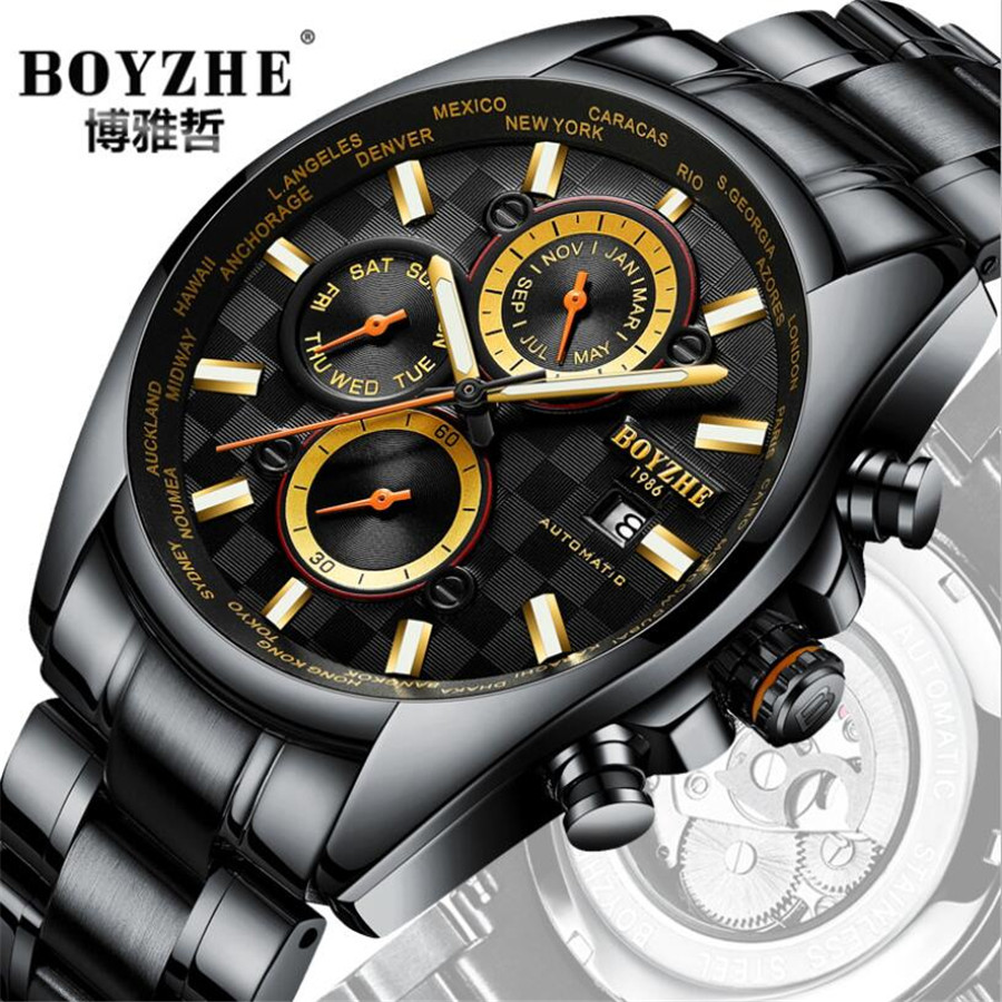 6 hand Men's Watch Sport Waterproof Automatic Mechanical Watch Stainless Steel Automatic Self-Wind Wrist Watches Horloges Mannen стоимость