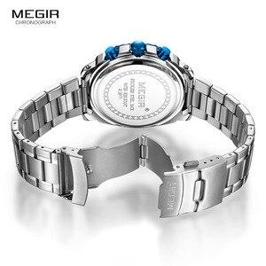 Image 5 - MEGIR relojes de cuarzo con cronógrafo para hombre, esfera azul, de pulsera, análogo, de acero inoxidable, a la moda, manecillas luminosas, 2075G 2