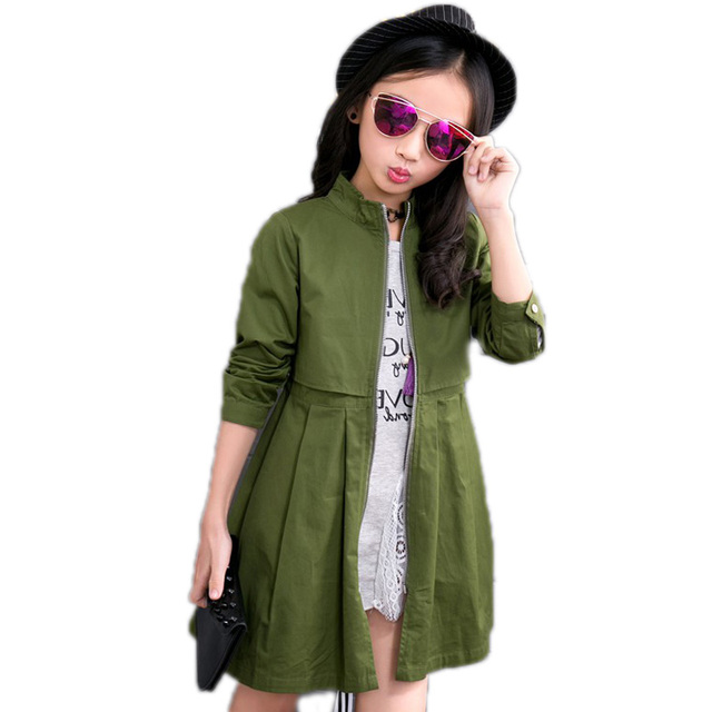 93e0918d 2018 spring long girls jacket children clothing cotton girl trench coat  Zipper Teenager Cardigan girl coat