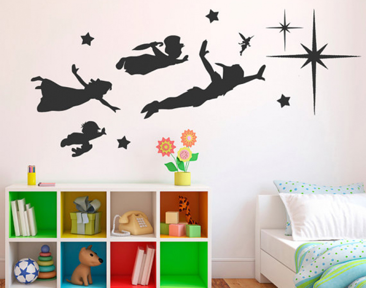 Clássico dos Desenhos Adesivos de Parede Decalques da Parede do Vinil Adesivos de Parede para Quartos de Crianças Animados Peter Bebê para Quartos de Crianças Pan