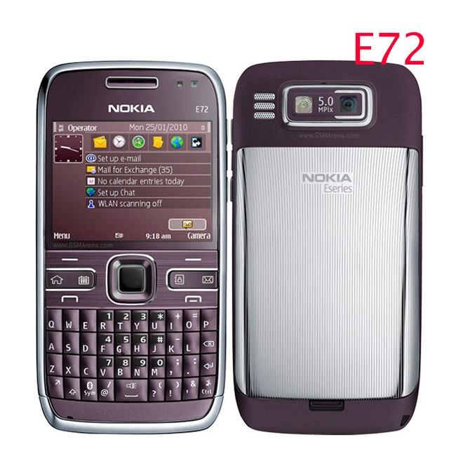 E72 100 Original Nokia E72 Mobile Phone 3G Wifi GPS 5MP Black Unlocked E Series Smartphone