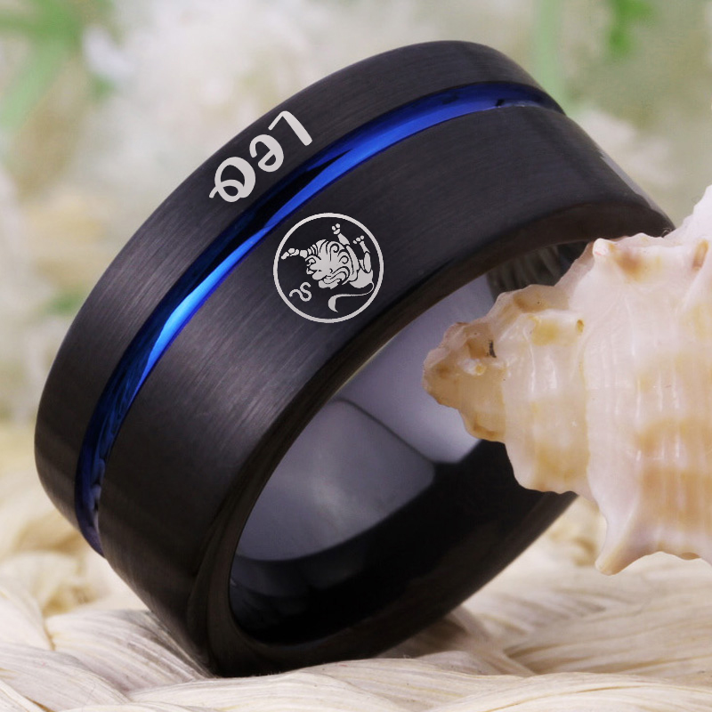 Image 3 - Fashion Rings Leo Zodiac Jewelry Mens Lion Design Ring Women Girls Black Blue Line Tungsten Carbide Wedding Ring EngagementRings   -