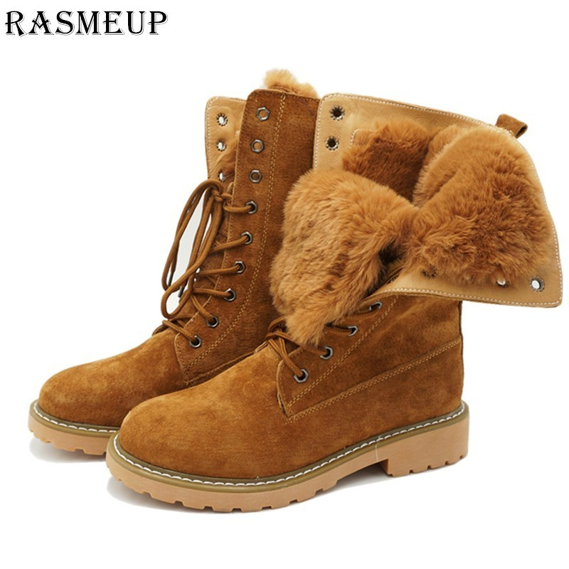 RASMEUP Genuine Leather Fur Lace-up Women's Martin Boots Winter Thick Warm Plush Women Mid Calf Snow Boots Woman Military Shoes beango fashions snow boots women s winter fur rubber genuine leather lace up flats round toe mid calf new comfort warm boots