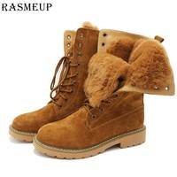 RASMEUP Genuine Leather Fur Lace up Women's Martin Boots Winter Thick Warm Plush Women Mid Calf Snow Boots Woman Military Shoes