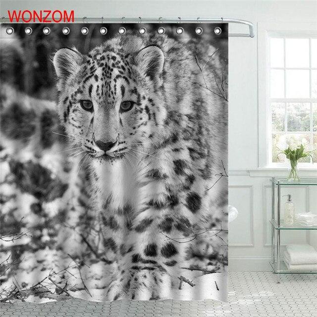 WONZOM Leopard Polyester Stoff Duschvorhang Seefisch Badezimmer ...