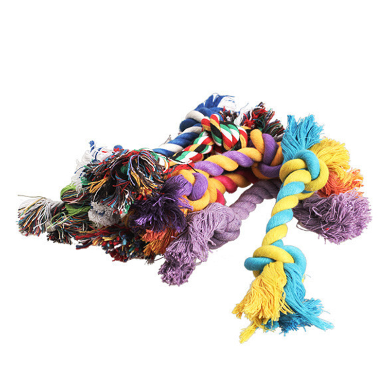 1 pcs Pets dogs pet supplies Pet Dog Puppy Cotton Chew Knot Toy Durable Braided Bone Rope 15CM Funny Tool (Random Color ) 1