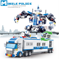 city Lepins Police command car Figure 2 in 1 Transform Building Block Bricks Toys Model kits gifts for childre
