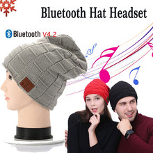 все цены на Wireless Bluetooth Earphone Hat Stereo Music Smart Cap BT4.2 Outdoor Sport Headset Speaker with Mic Knitted Hat Plus Velvet Hat онлайн