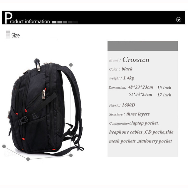 Crossten Swiss Multifunctional Waterproof Laptop Backpack for 17 2