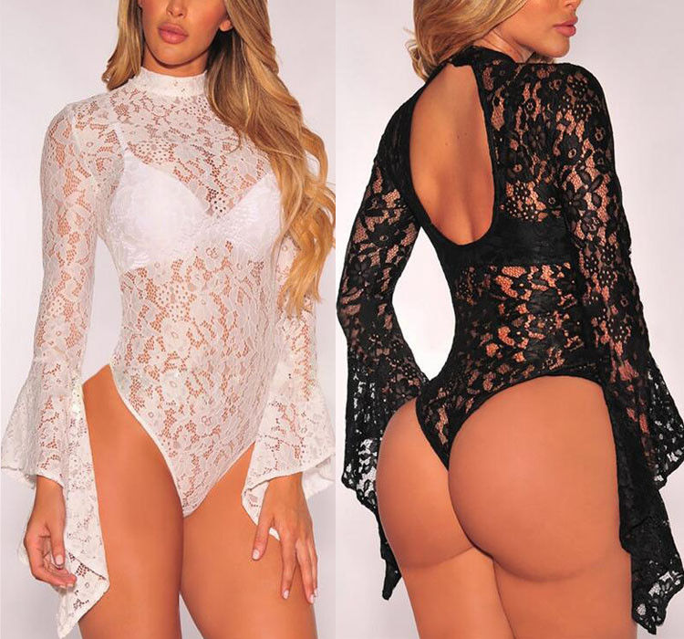 Women Clothes Sexy Plunge Turtleneck Bodycon Lace Sleepwear Bodysuit Backless Short Romper Leotard Black White Women Playsuits