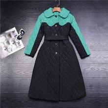 Высокое качество бренд женщин длинное пальто зеленый черный контрастность цвет стеганые верхняя одежда средний-икра длина ромбической мягкий теплое пальто карман