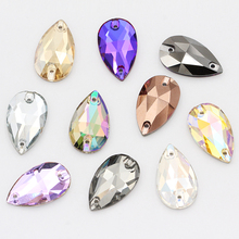 Teardrop Glass Crystal Strass Sew On Rhinestones High Quality Flatback Stone Droplet Sewing Rhinestone For Garment Fabric