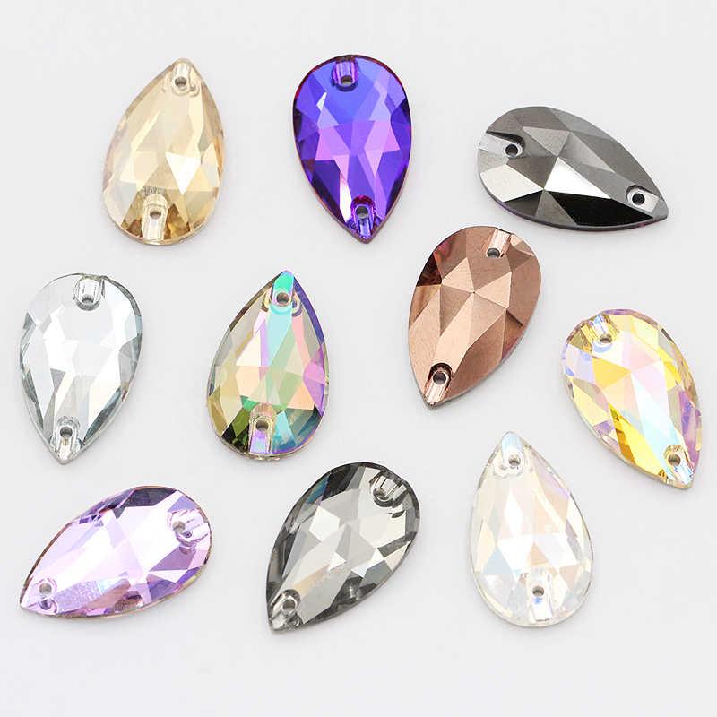 Titik Air Mata Kaca Kristal Berlian Imitasi Menjahit Berlian Imitasi Berkualitas Tinggi Pipih Menjahit Batu Tetesan Jahit Berlian Imitasi untuk Kain Garmen