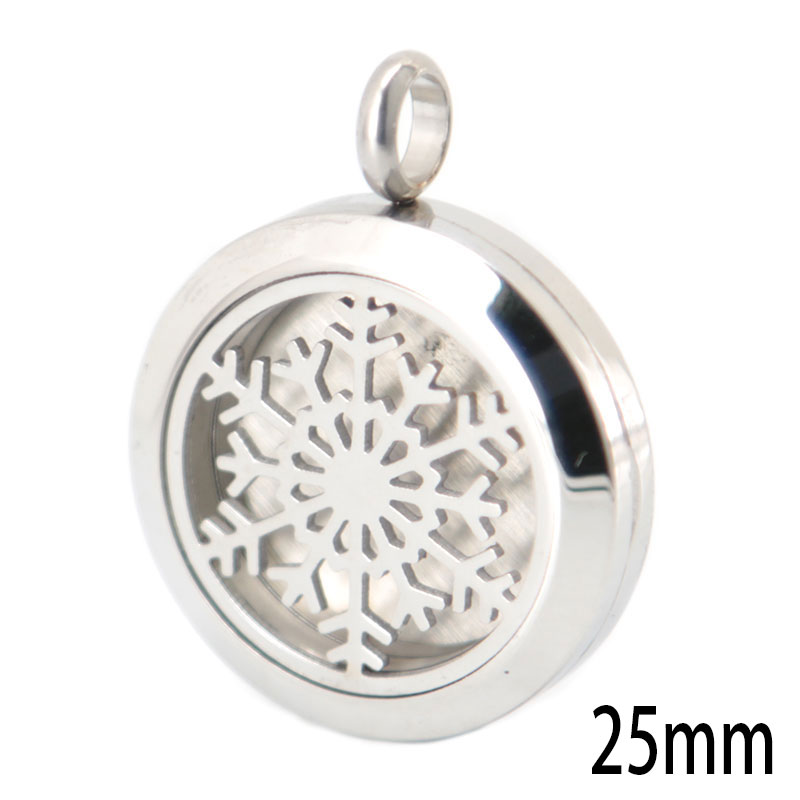 10pcs 25mm silver Christmas Flake Aromatherapy Essential Oil 316 Stainless Steel Perfume Diffuser Locket Necklace with chain