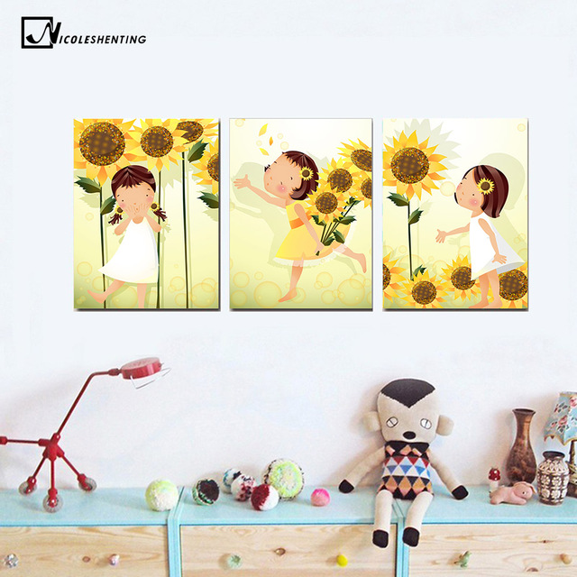 NICOLESHENTING Kawaii Flower Girl Art Canvas Poster Minimalist ...